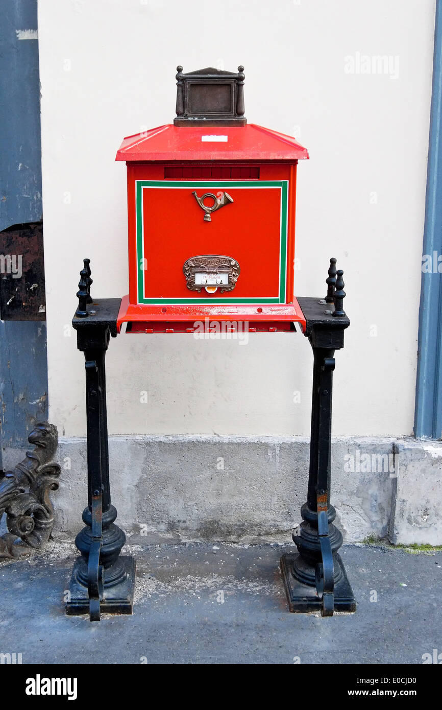Mailbox of the Hungarian post in Budapest Stock Photo