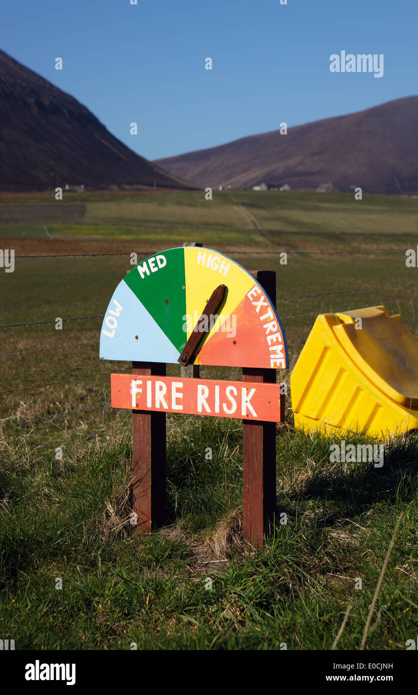 Fire risk alert indicator on the island of Hoy in Orkney - Stock Image