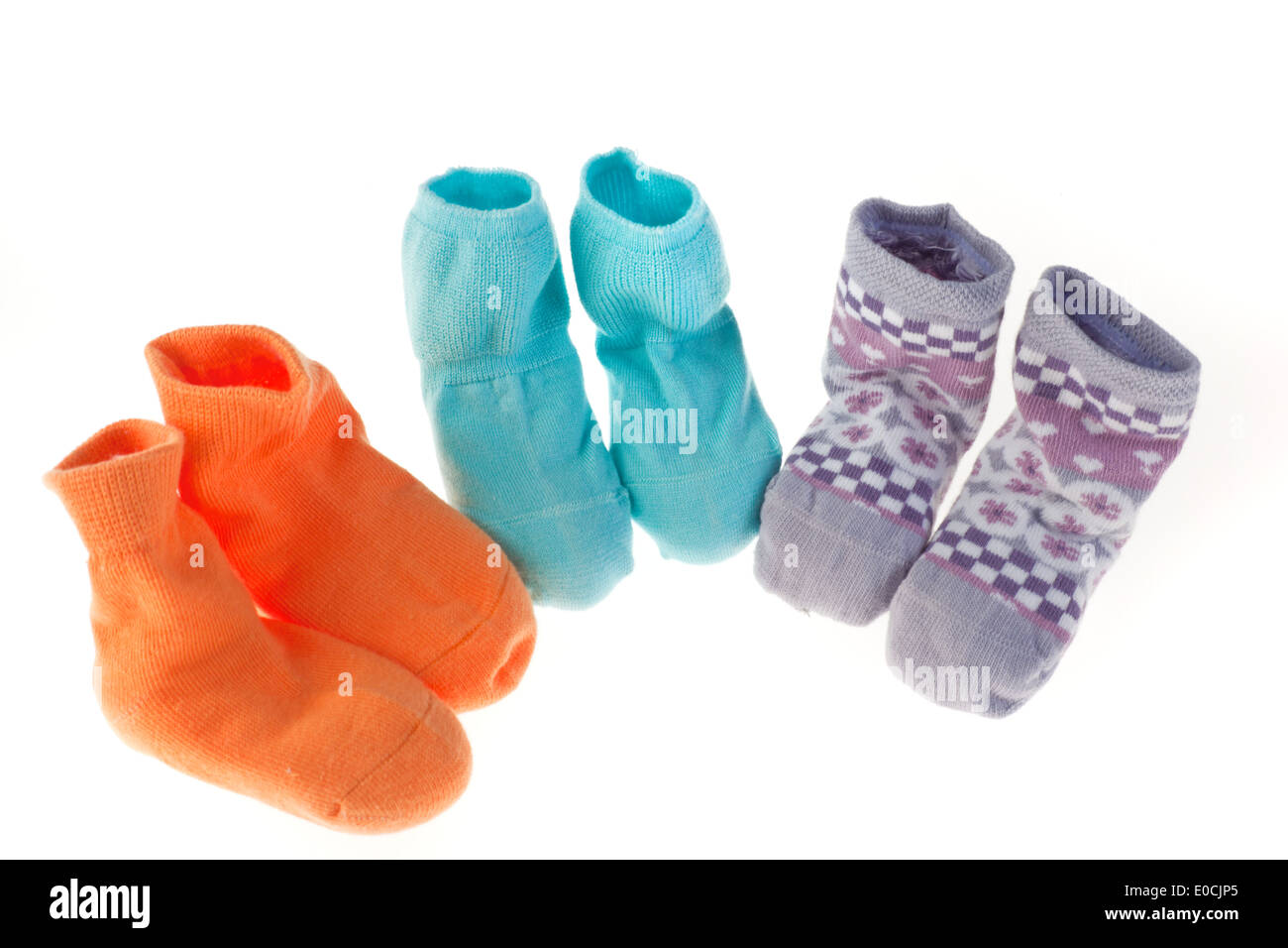 Children socks isolated on white background, Kinder Socken isoliert auf weissem Hintergrund - Stock Image