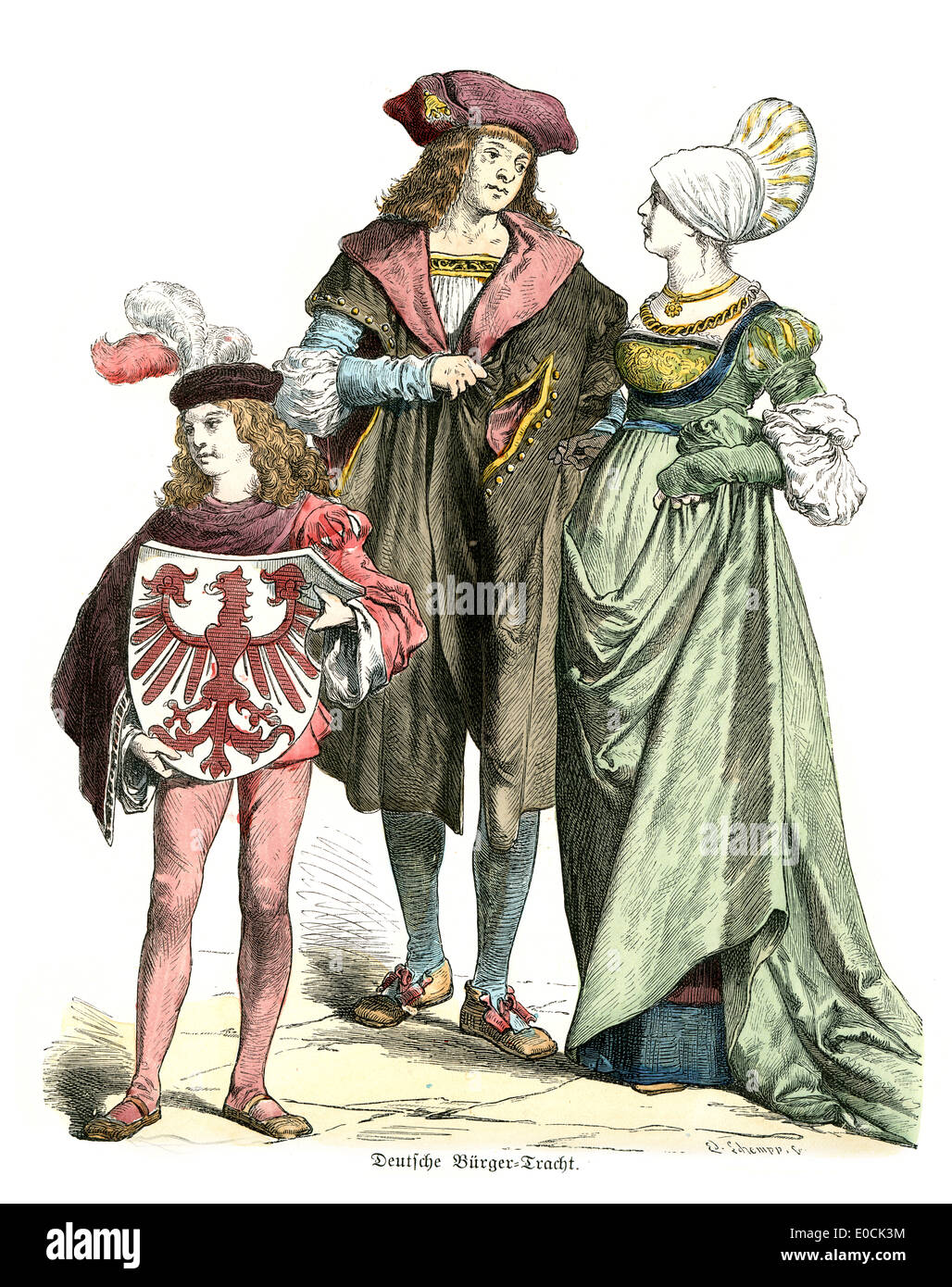 Traditional Costumes Of Germany In The 16th Century Noble Couple And Page Boy