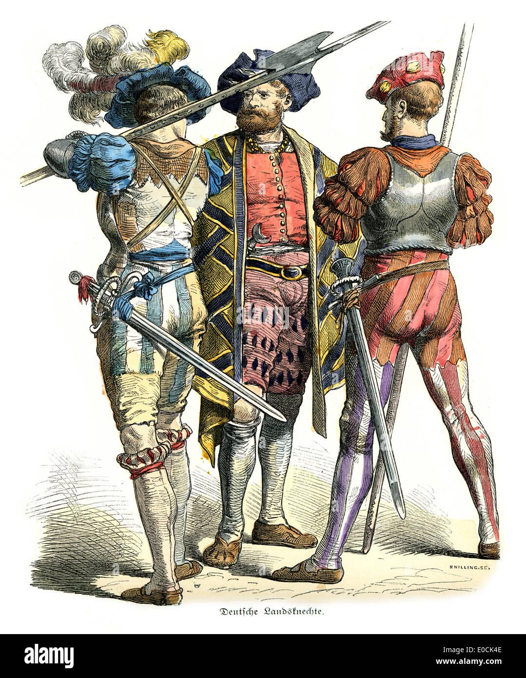 German Landsknechte of the 16th Century. The German Landsknechte, were colourful mercenary soldiers - Stock Image