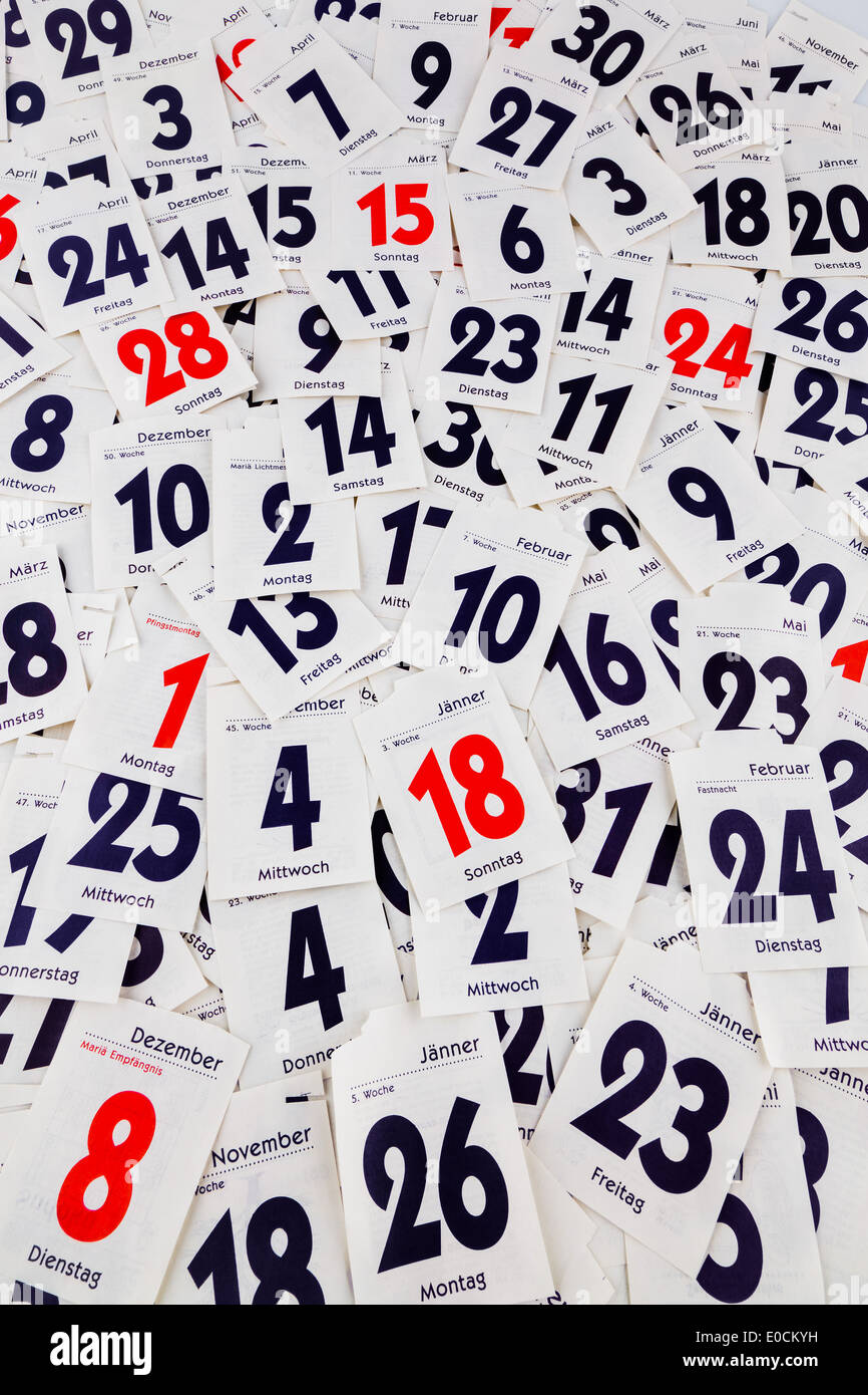 The ragged days of a calendar. - Stock Image