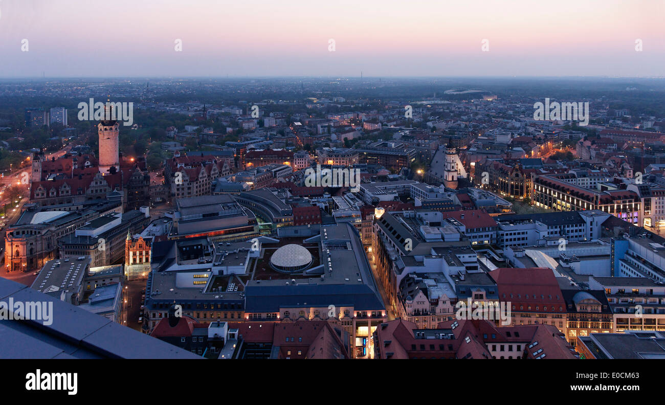 View from the City Hochhaus onto the city in the evening, Leipzig, Saxony, Germany, Europe - Stock Image