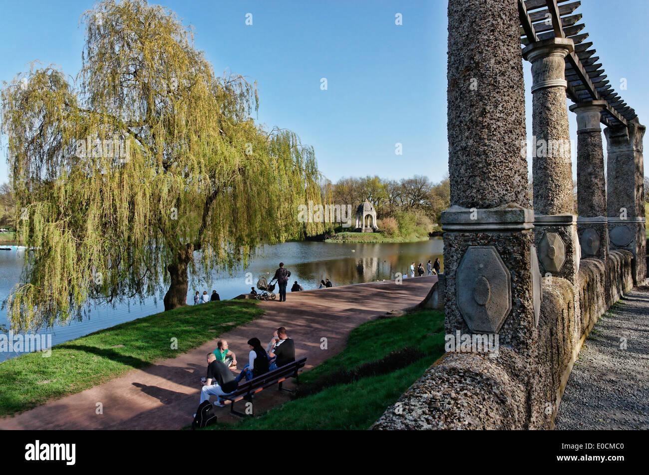 People at Adolf Mittag Lake with Marieninsel at municipal park Rotehorn, Magdeburg, Saxony-Anhalt, Germany, Europe Stock Photo
