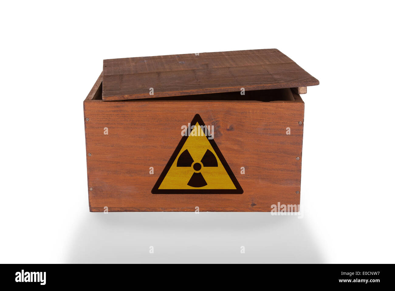 Wooden crate isolated on a white background  radioactive content Stock Photo