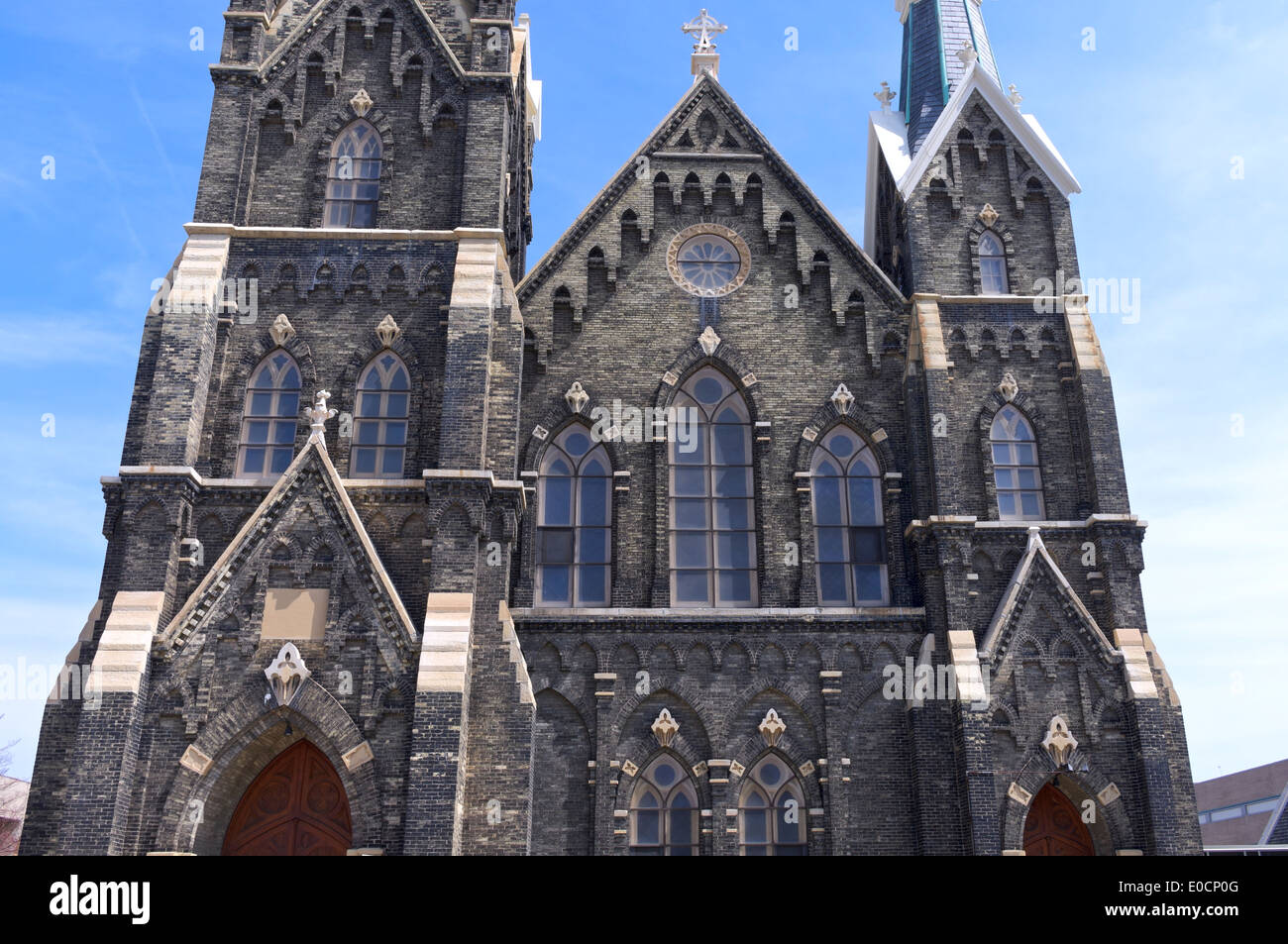 Historic church of gothic revival architecture style in Milwaukee Wisconsin - Stock Image