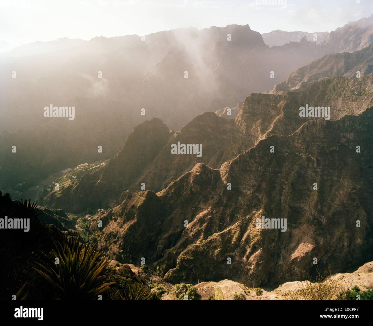 View into the valley Ribeira da Torre and over the crests, Santo Antao, Ilhas de Barlavento, Republic of Cape Verde, Stock Photo