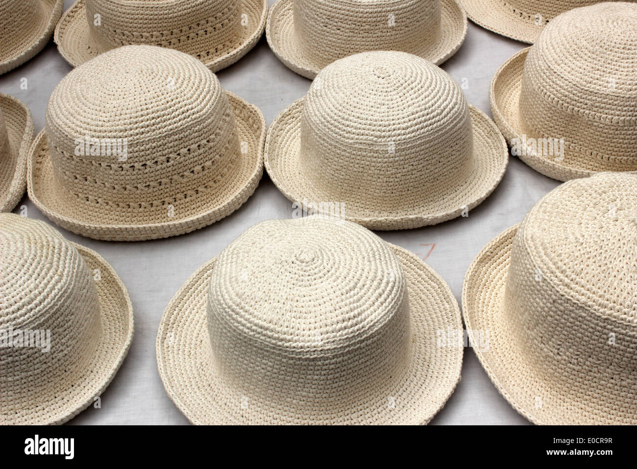 27f3ad3e146 Handmade hats for sale at the outdoor craft market in Otavalo Stock ...