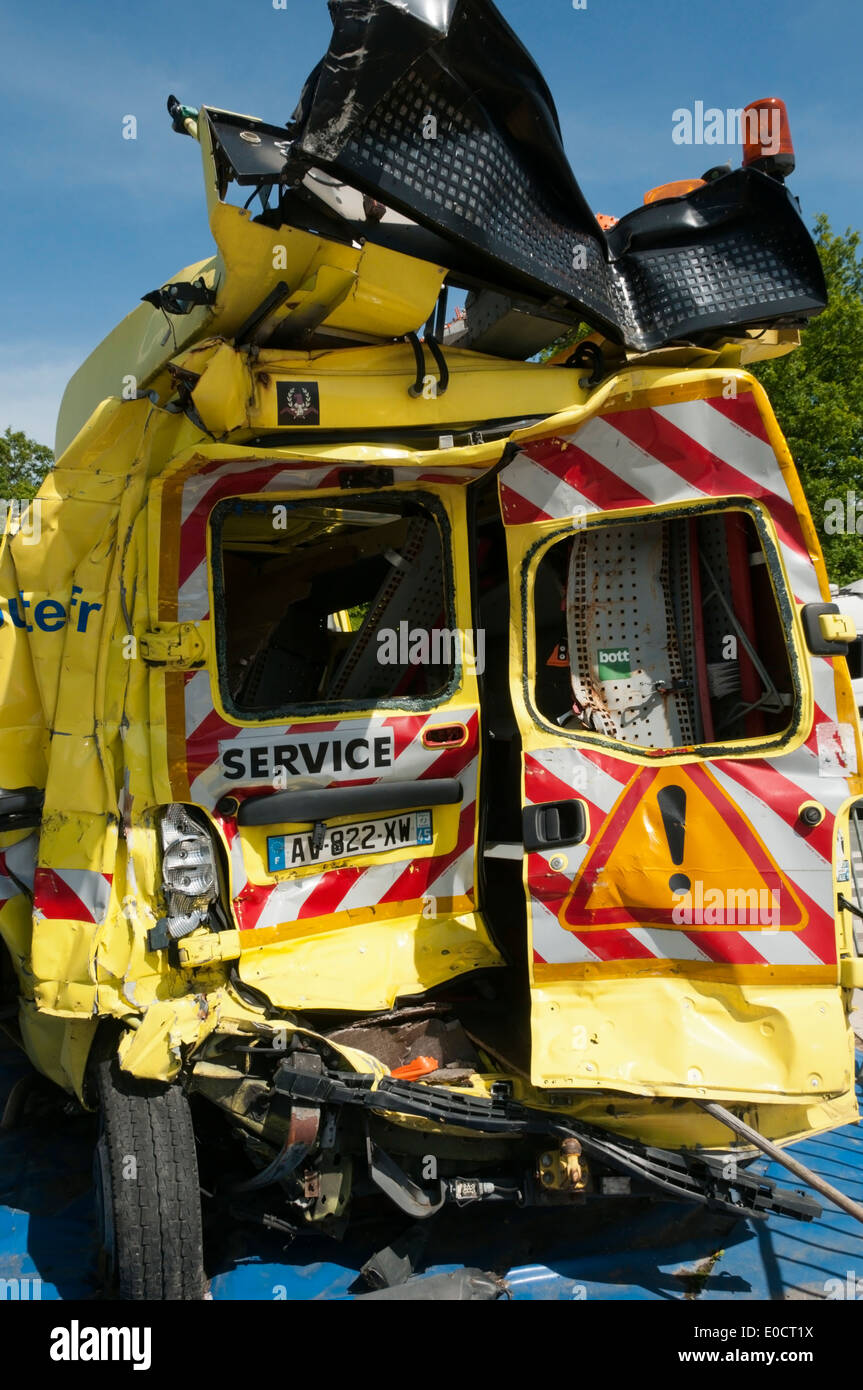 Damaged French motorway services van after being involved in accident.  DETAILS IN DESCRIPTION. - Stock Image