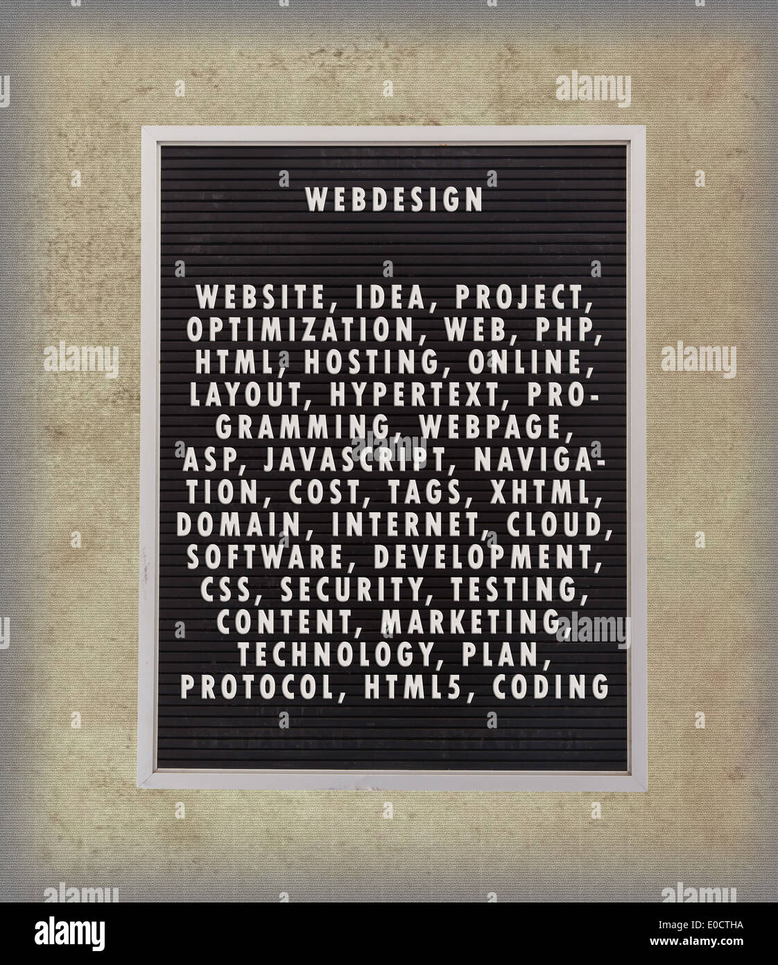 Webdesign concept in plastic letters on very old menu board vintage look