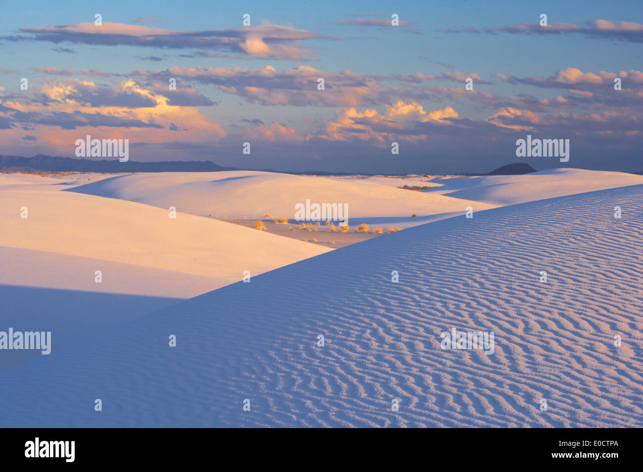 Sunset at White Sands National Monument, New Mexico, USA, America - Stock Image
