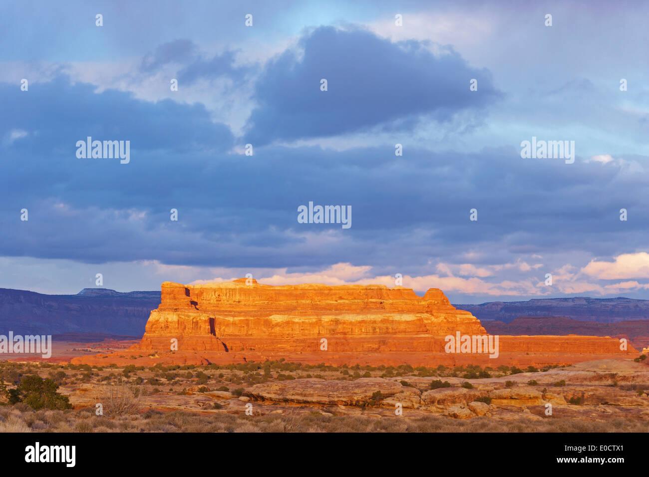 Last Sunrays, The Needles, Canyonlands National Park, Utah, USA, America - Stock Image
