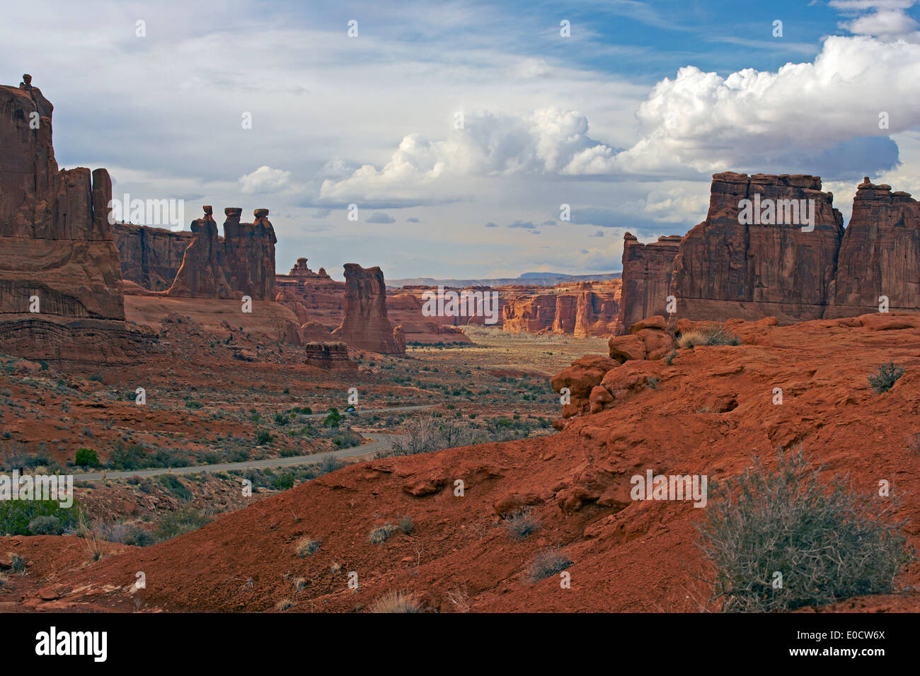 Couthouse Towers and Park Avenue, Arches National Park, Utah, USA, America - Stock Image