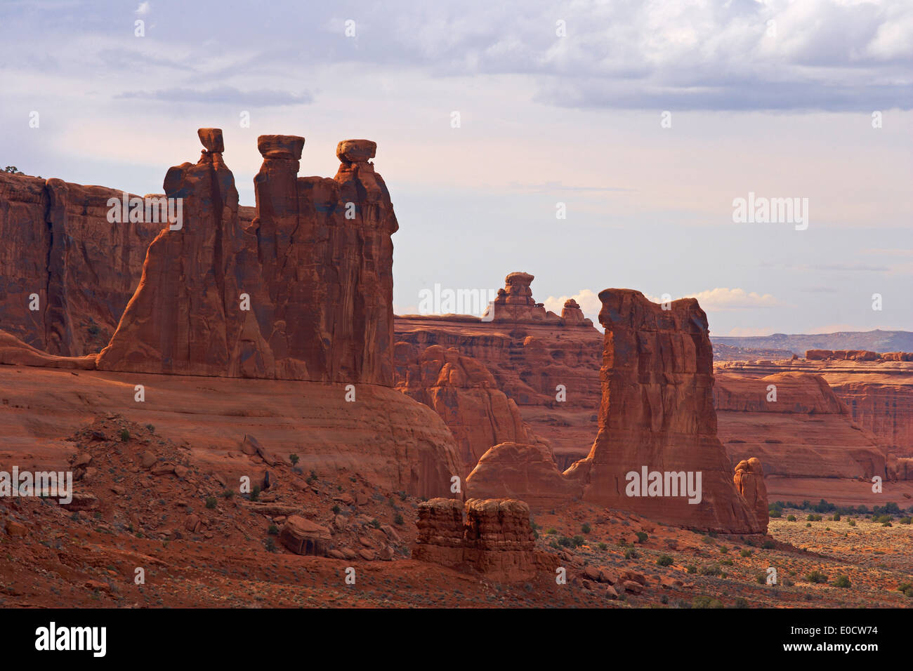 Couthouse Towers and Park Avenue, Three Gossips, Arches National Park, Utah, USA, America - Stock Image