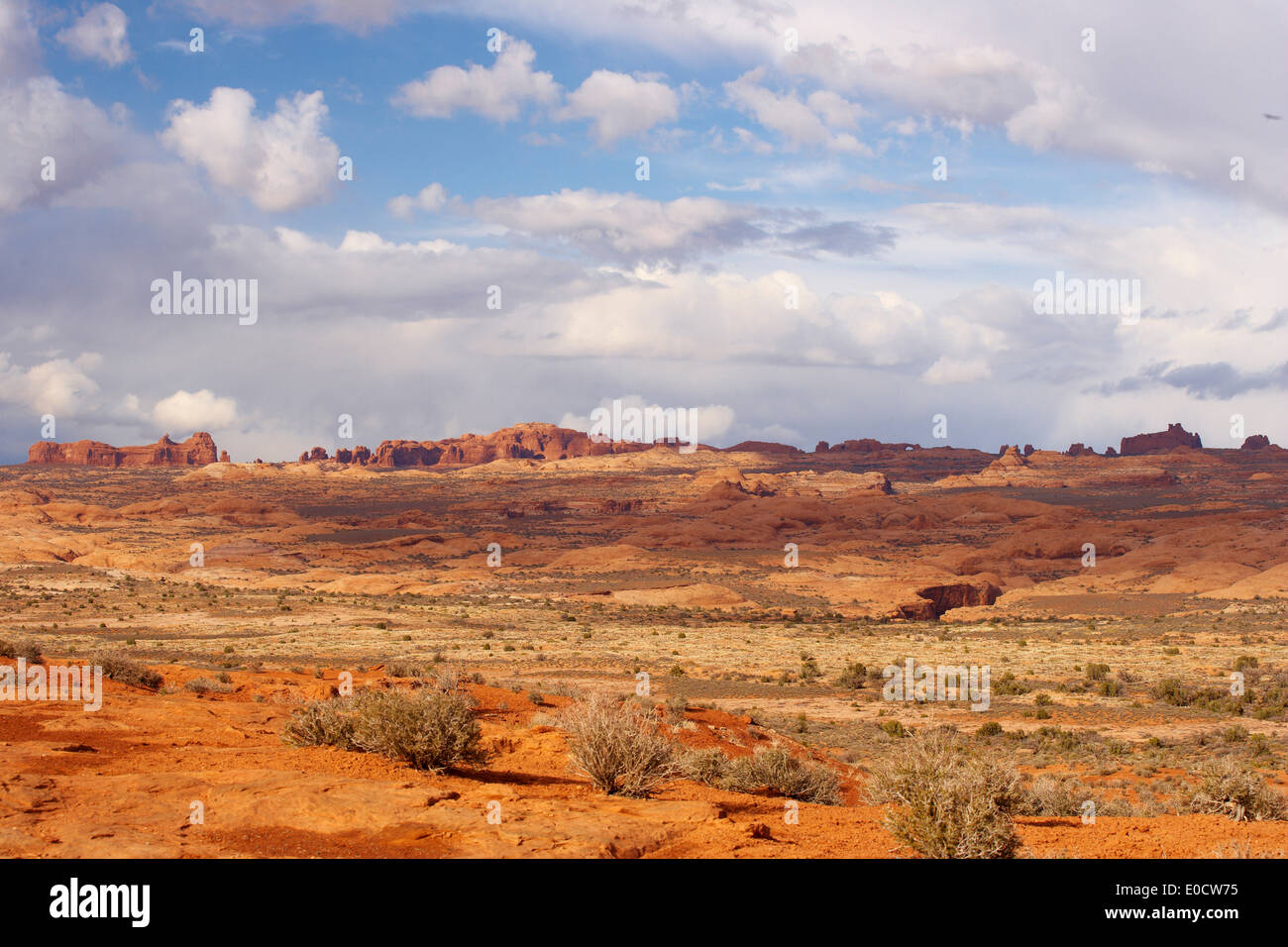 View from Park Avenue Viewpoint over the Petrified Dunes towards Balanced Rock and Windows Section, Arches National Park, Utah, - Stock Image