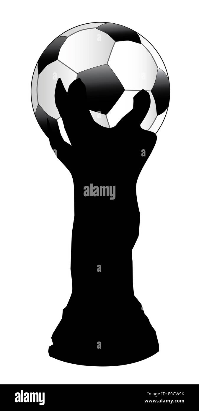 Silhouette of the world cup with a football sitting on top - Stock Image