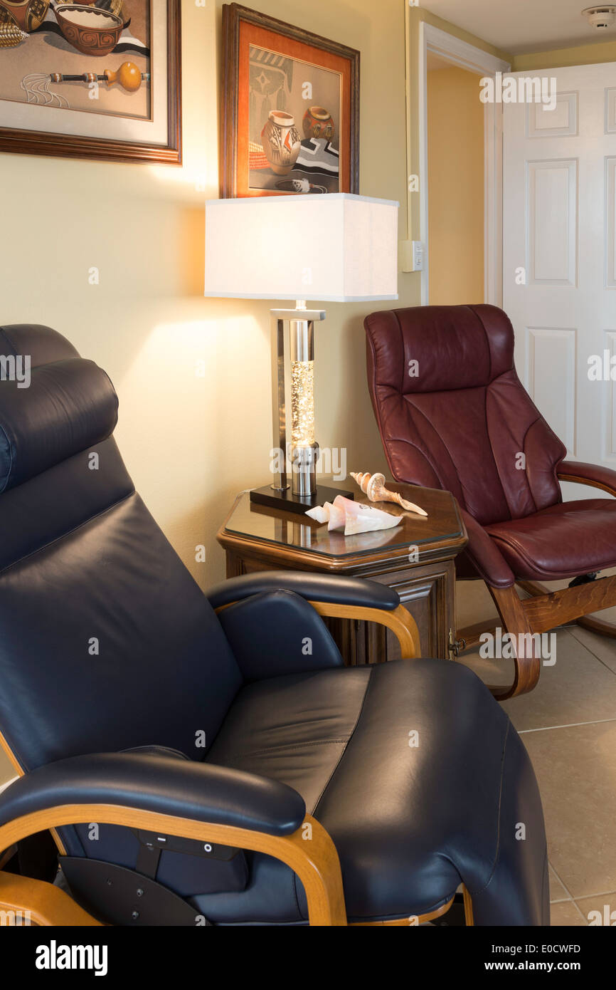 Leather Easy Chairs In Luxury Condo Den, USA