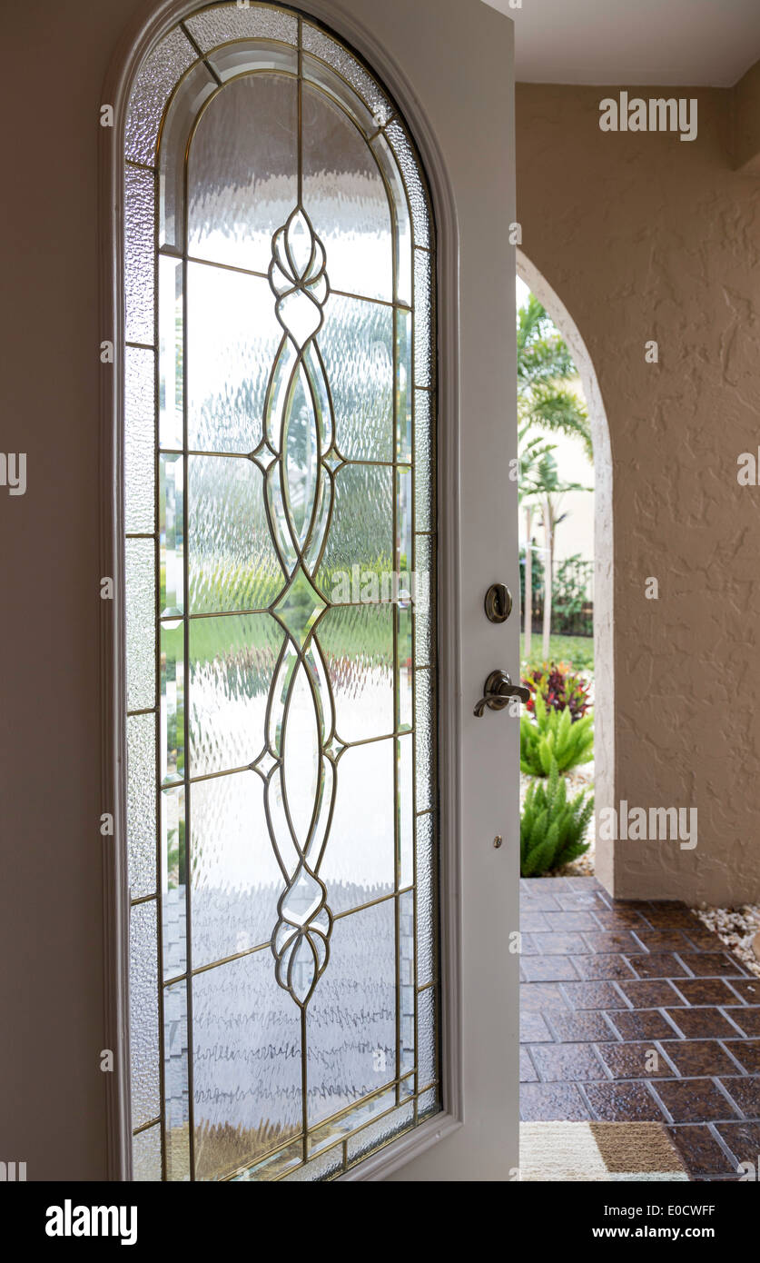 Leaded Glass Entry Door Luxury Home Fl Usa Stock Photo 69124931
