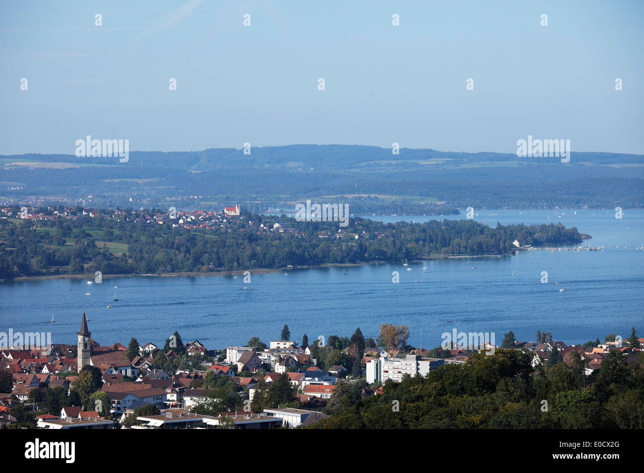 View to Hoeri, Horn over Steckborn, Lake of Constance, Canton Thurgau, Switzerland - Stock Image
