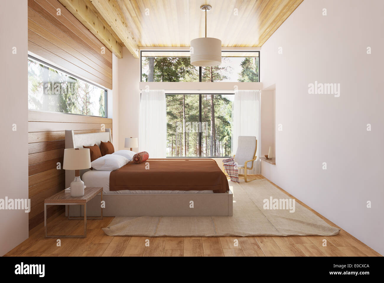 Bedroom Interior With Bed Wooden Front Walls And Big Window With Stock Photo Alamy
