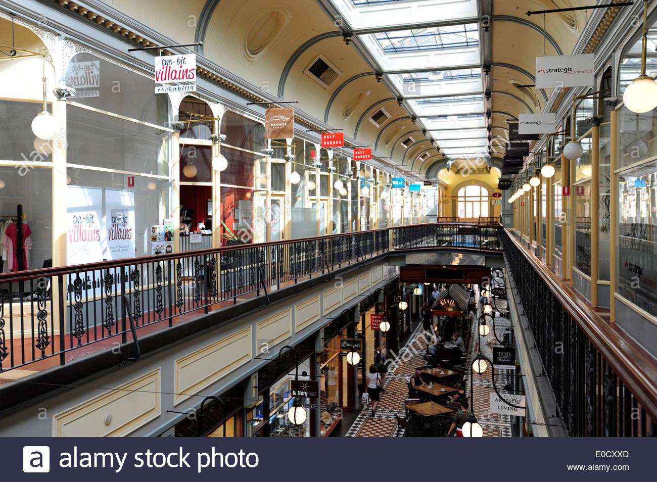 Adelaide Arcade, shopping arcade at Rundle Mall in the city centre, Adelaide, South Australia, SA, Australia - Stock Image