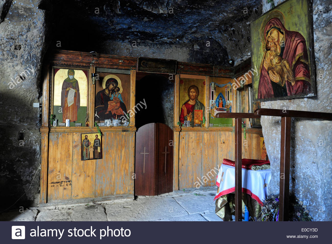 greek orthodox church interior decoration of a small chapel in