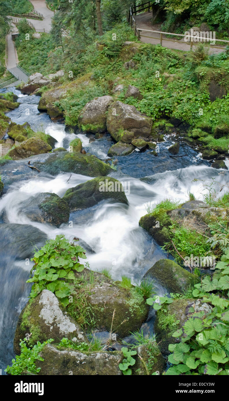 scenery showing the Triberg Waterfalls in the Black Forest in Southern Germany at summer time - Stock Image