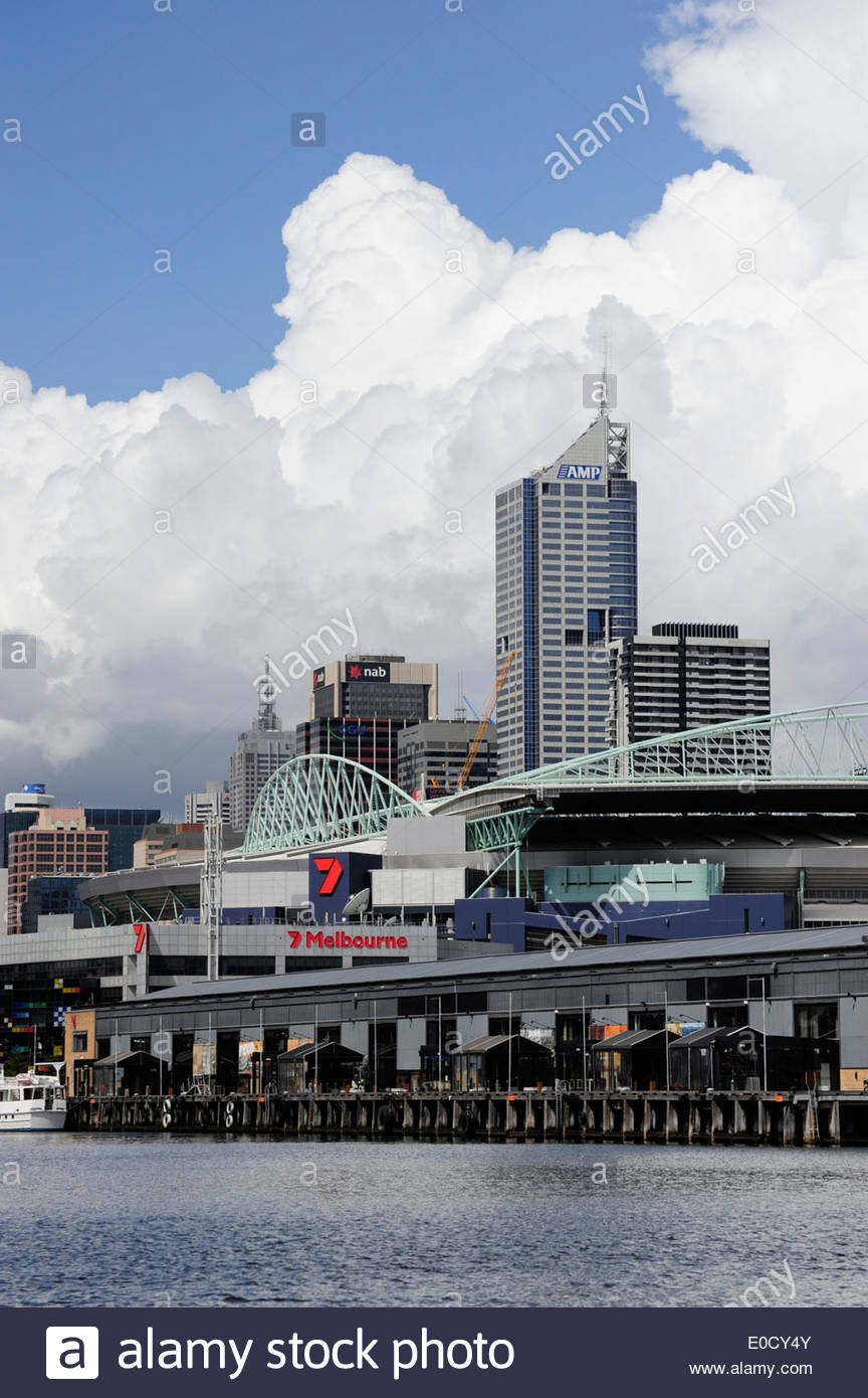 Docklands, Central Pier at the former harbour area, in the background the Etihad Stadium and the Bourke Place tower, Melbourne C - Stock Image