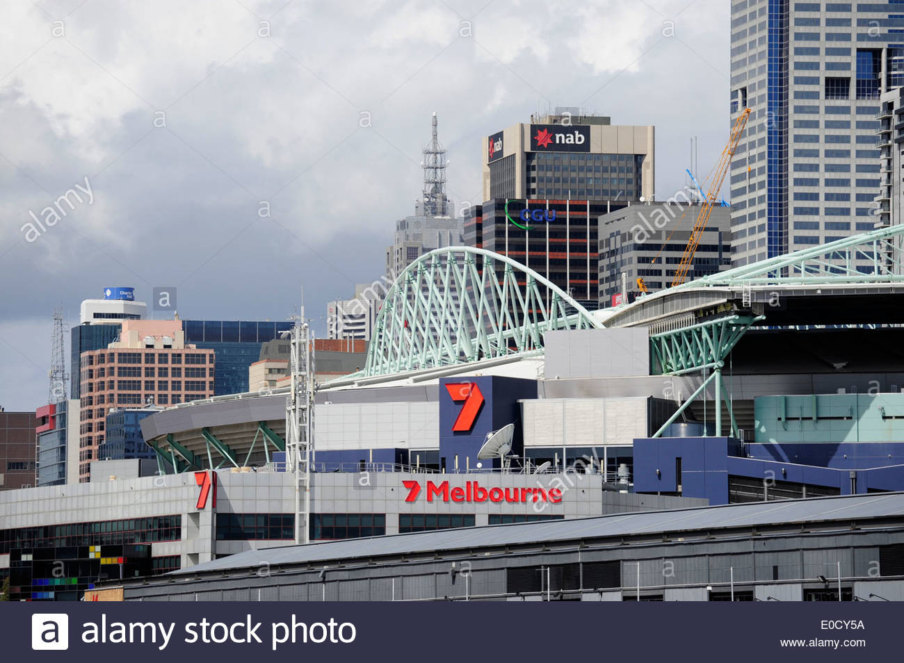 Docklands, view of the Etihad Stadium and buildings at the city centre, Melbourne City, Victoria, VIC, Australia - Stock Image