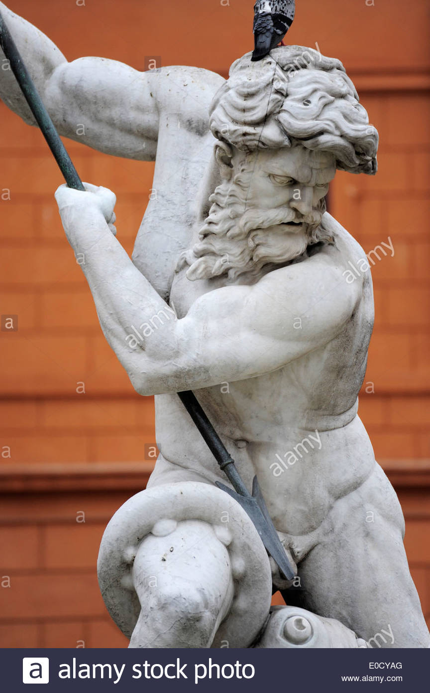 Neptune, the Roman god of water, sculpture on the Fontana del Nettuno fountain, Piazza Navona square, old city centre, Rome, Rom - Stock Image