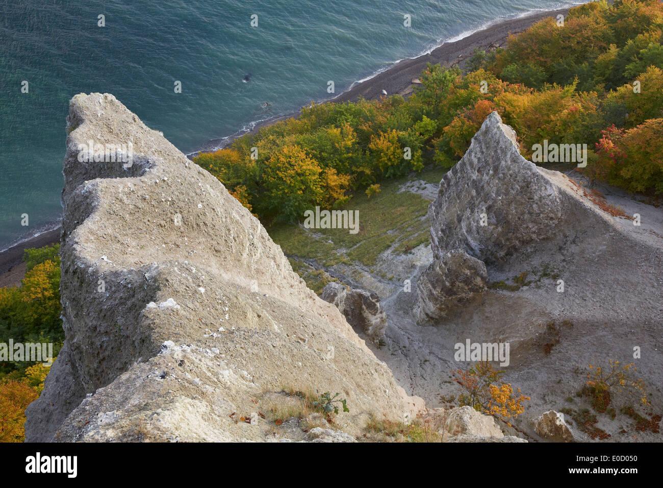 View from Victoria's View onto chalk cliffs in autumn, Jasmund National Park, Baltic coast, Ruegen island, Mecklenburg Western P - Stock Image