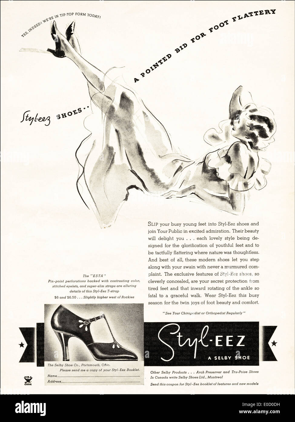 Advertisement for STYL-EEZ shoes in American magazine dated December 1934 - Stock Image