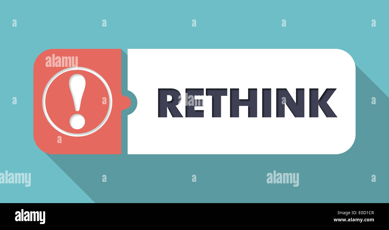 Rethink on Turquoise in Flat Design. - Stock Image