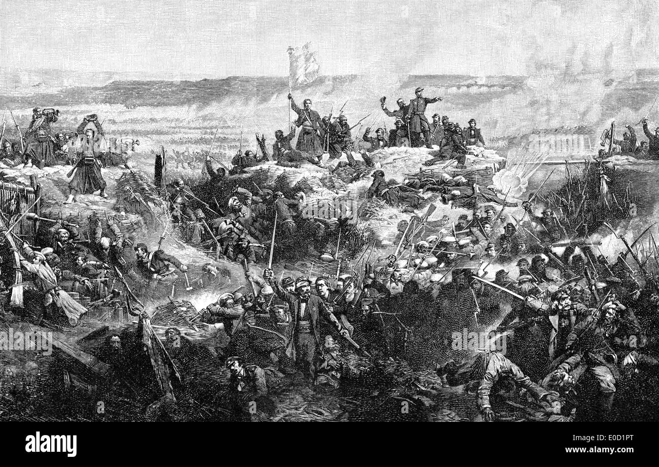 French soldiers storming Fort Malakhov, Crimean War, 1853 - 1856, - Stock Image