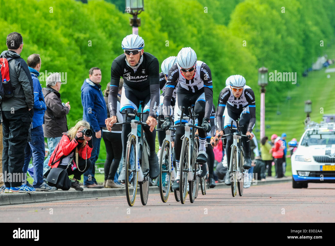 Belfast, Northern Ireland. 9 May 2014 - Giro d'Italia practice session: Giant Shimano (Netherlands) Credit:  Stephen Barnes/Alamy Live News - Stock Image