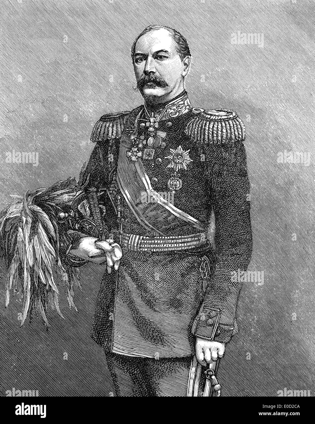 Eduard Ivanovich Totleben or Todleben, 1818-1884, a Baltic German military engineer and Imperial Russian Army general - Stock Image