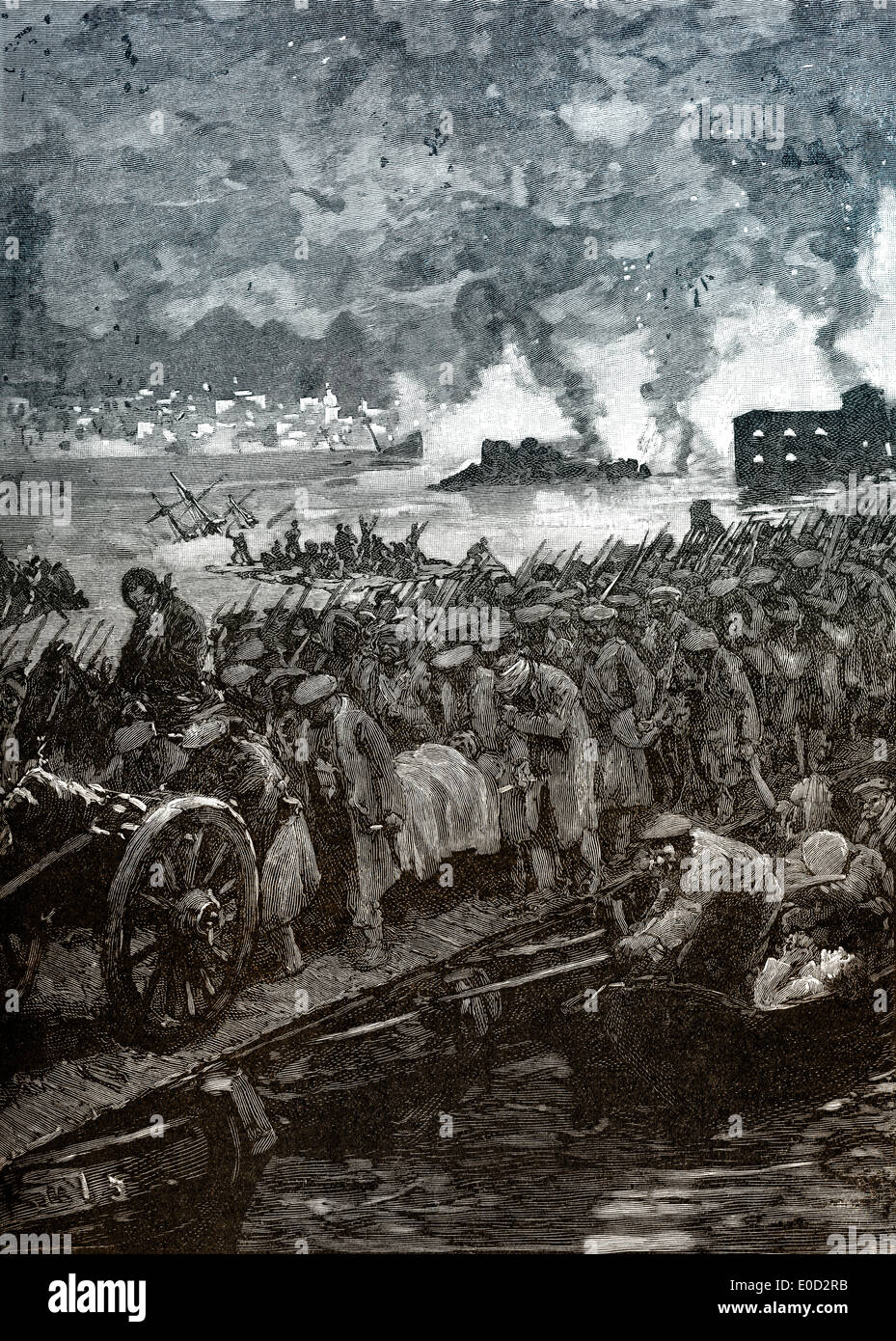 Russian evacuation of Sevastopol, Crimean War, 1853 - 1856, - Stock Image