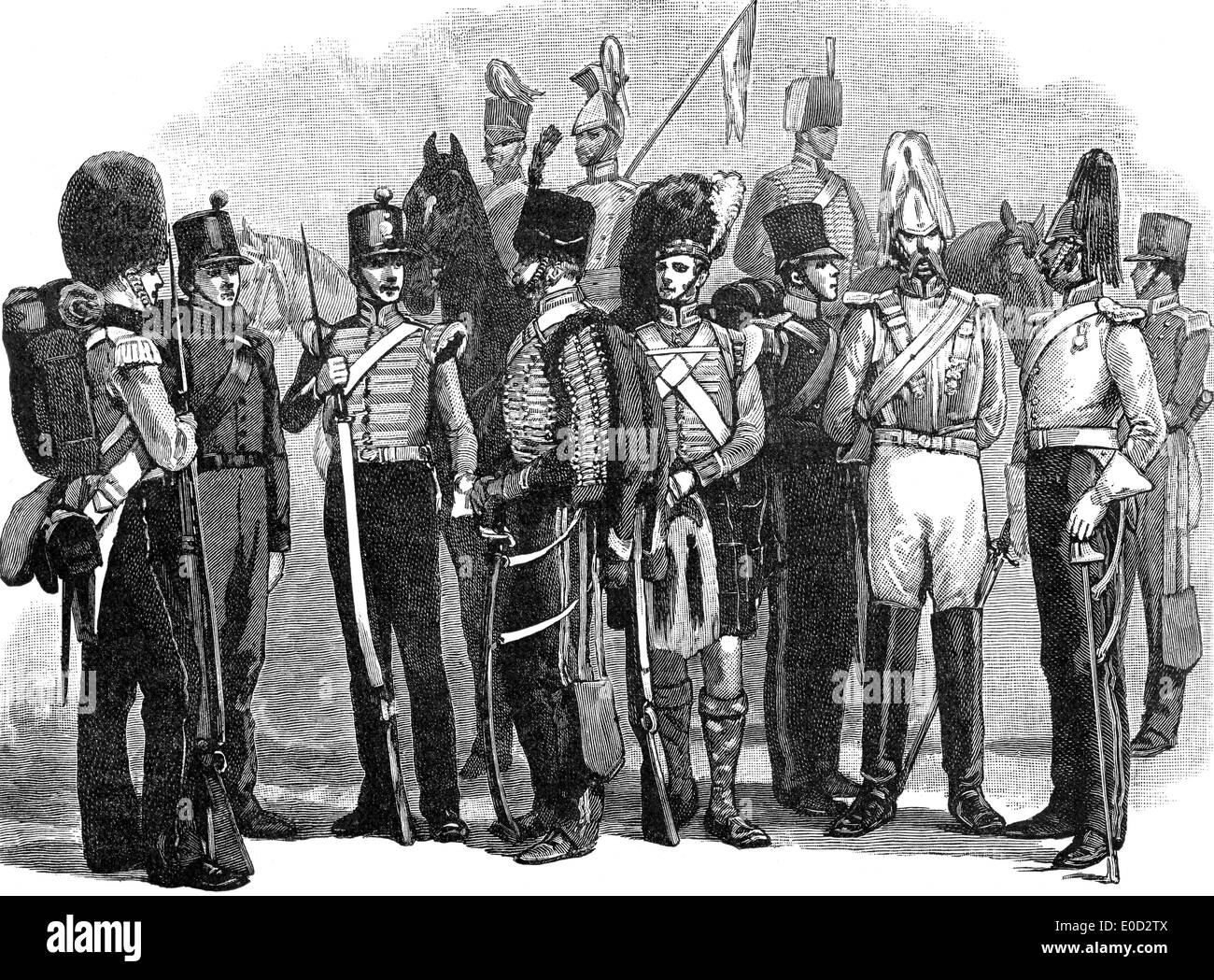 Uniforms of the British Army in 1855, Crimean War, 1853 - 1856 - Stock Image