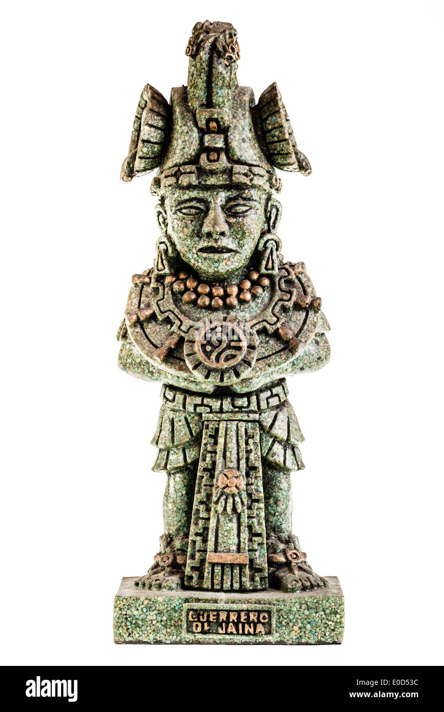 an ancient toltect statuette isolated over a white background - Stock Image