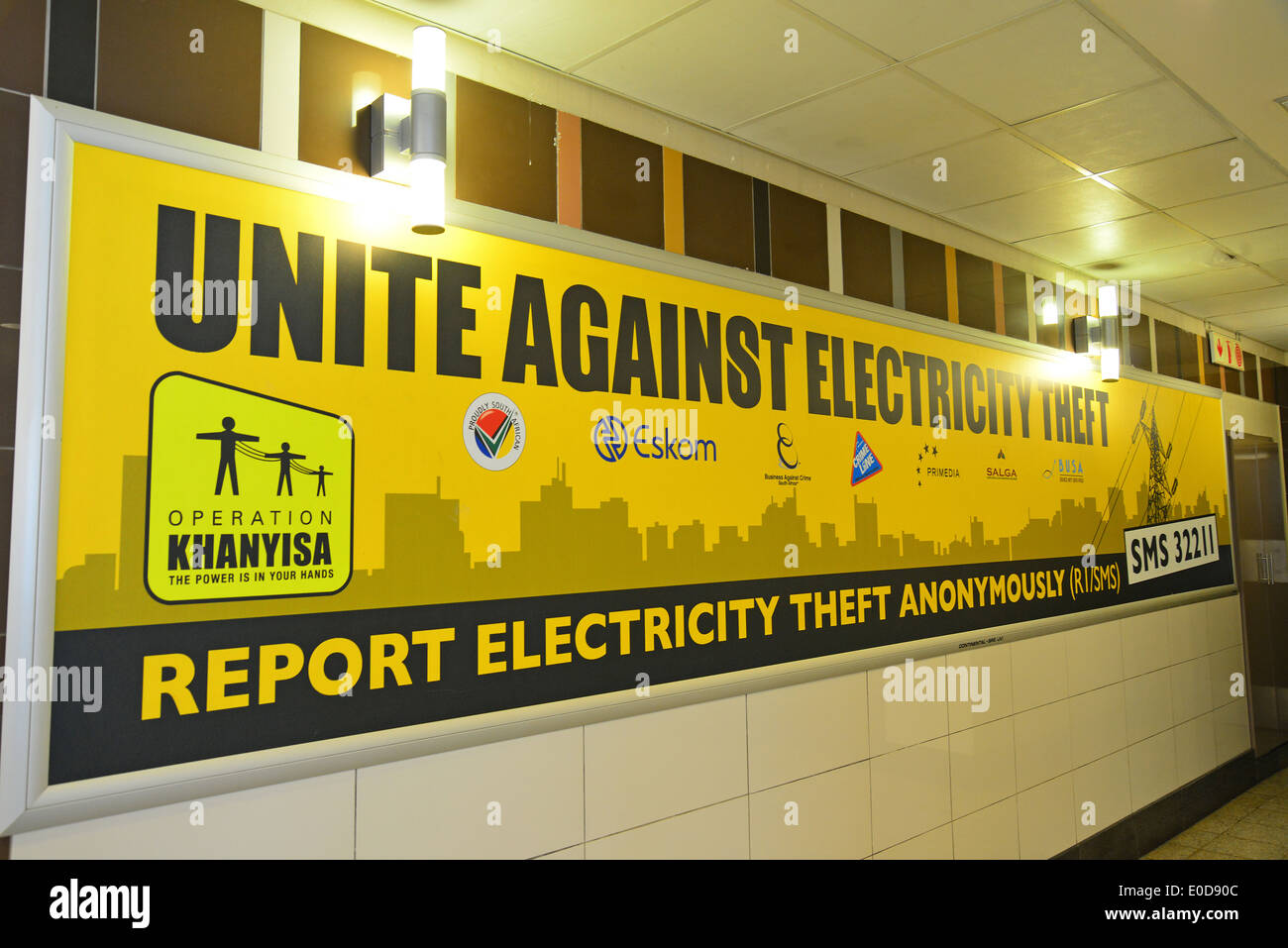 Electricity theft sign, Rhodesfield Gautrain Station