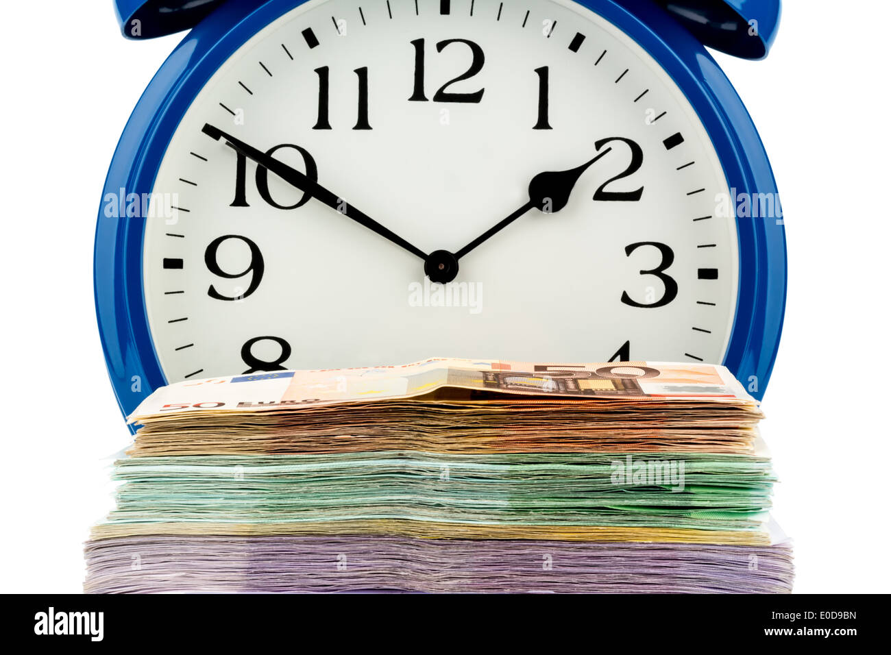 An alarm clock and bank notes, symbolic photo for labour costs, labour cost, time work, Ein Wecker und Geldscheine, Stock Photo