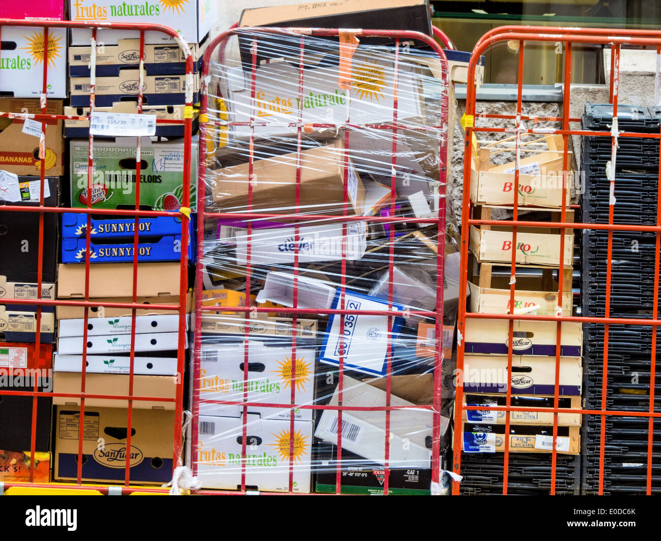 Packaging material in a supermarket. Waste paper and cardboard packagings wait for recycling, Verpackungsmaterial Stock Photo
