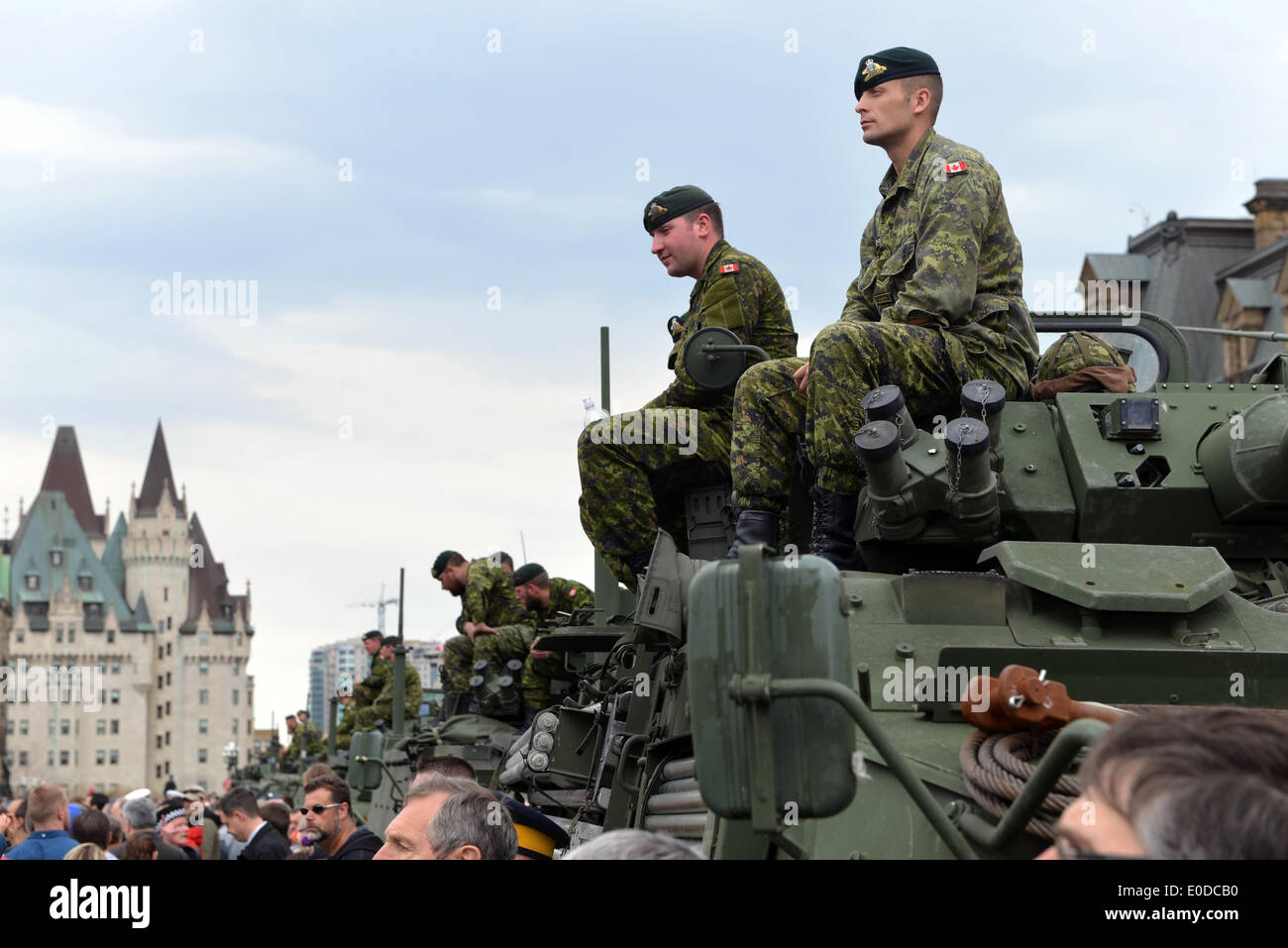 Soldiers who served in the Canadian Forces in Afghanistan are honored on Parliament Hill during national Day of Honour May 9, 2014 in Ottawa, Canada - Stock Image