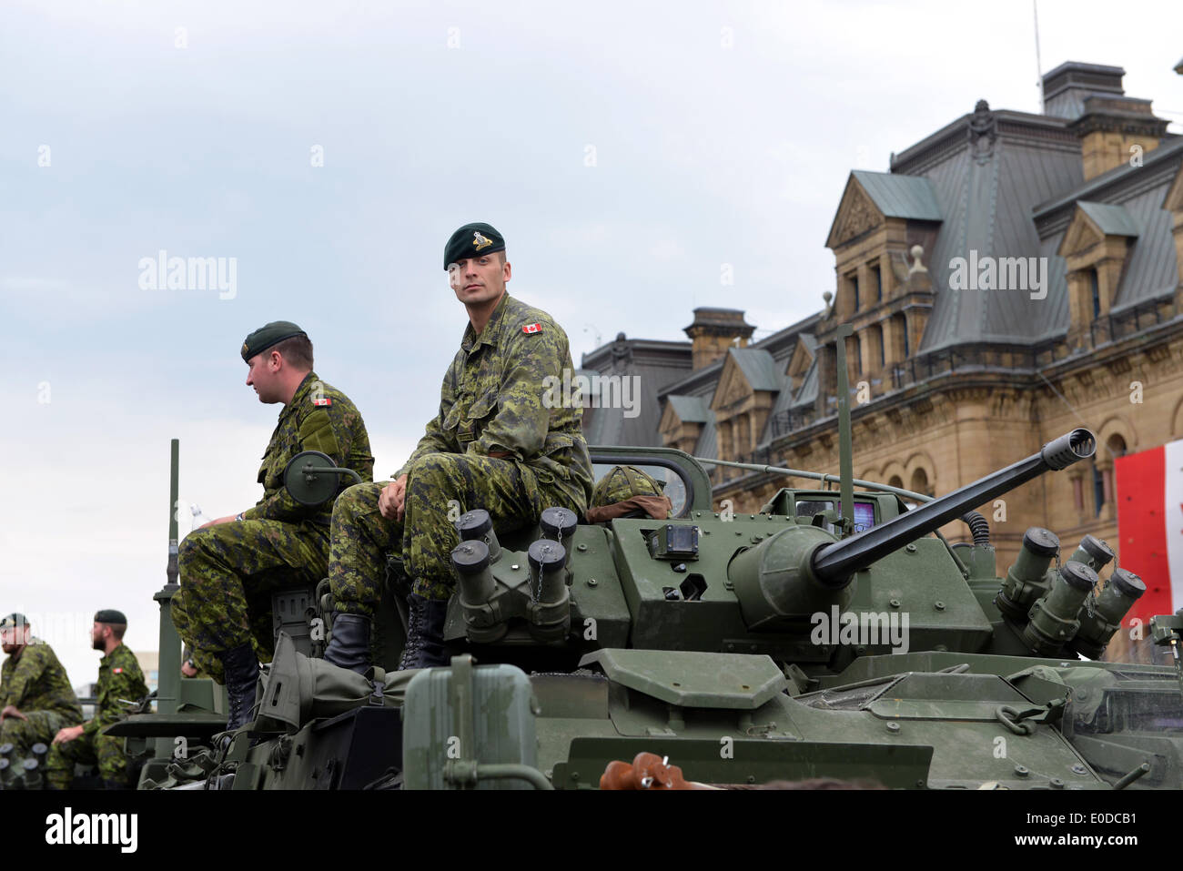 Soldiers who served in the Canadian Forces in Afghanistan were honored on Parliament Hill during national Day of Honour May 9, 2014 in Ottawa, Canada - Stock Image