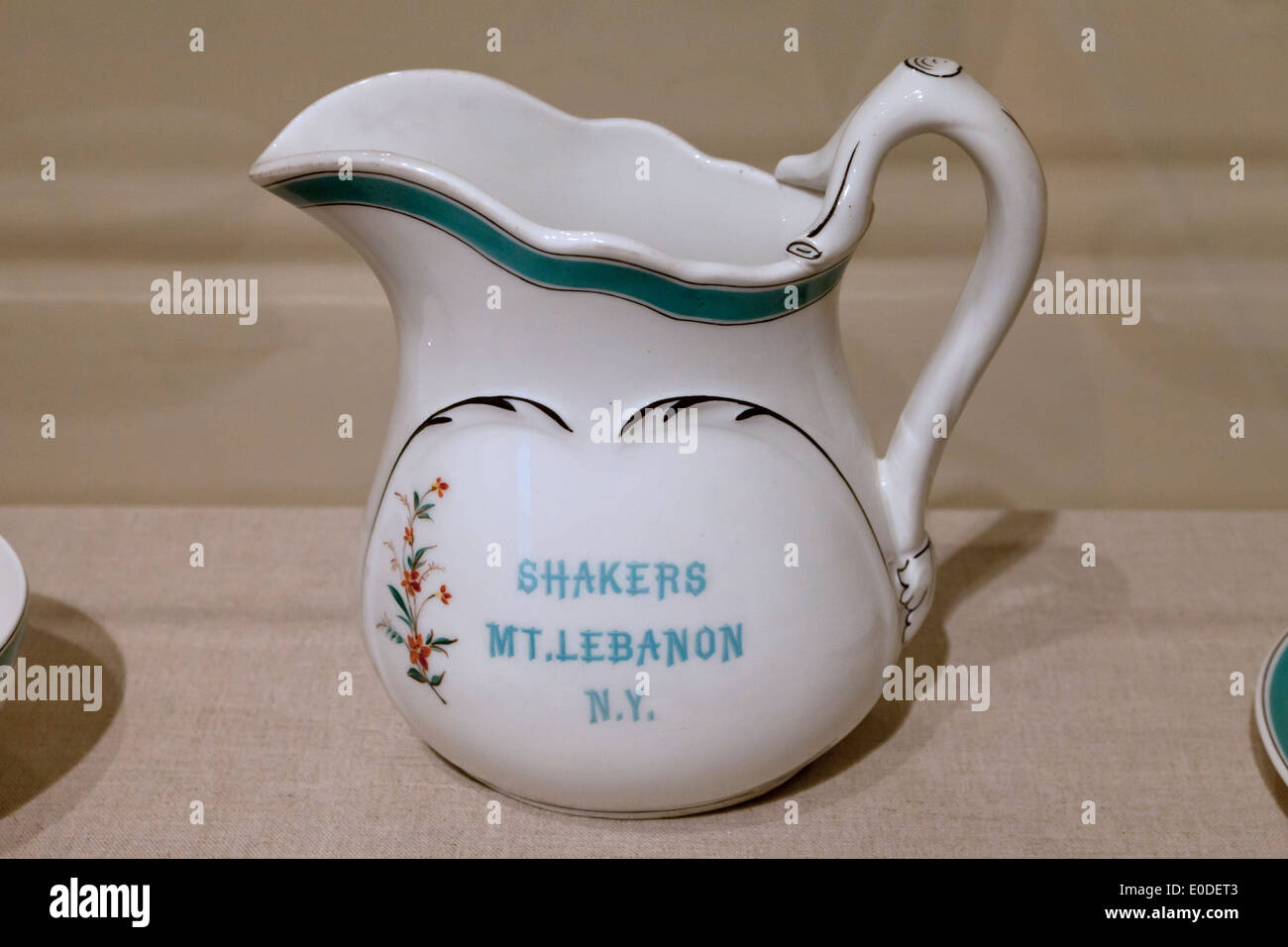 Antique Shakers porcelain pitcher - c. 1886 - Stock Image