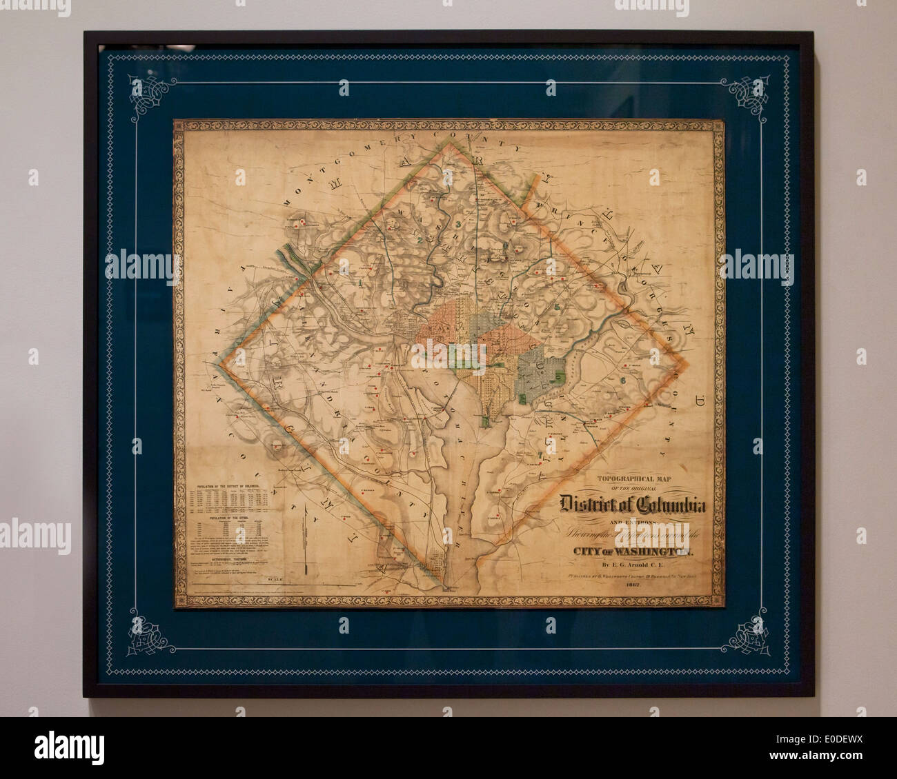 Vintage map of Washington, DC USA - c. 1862 - Stock Image