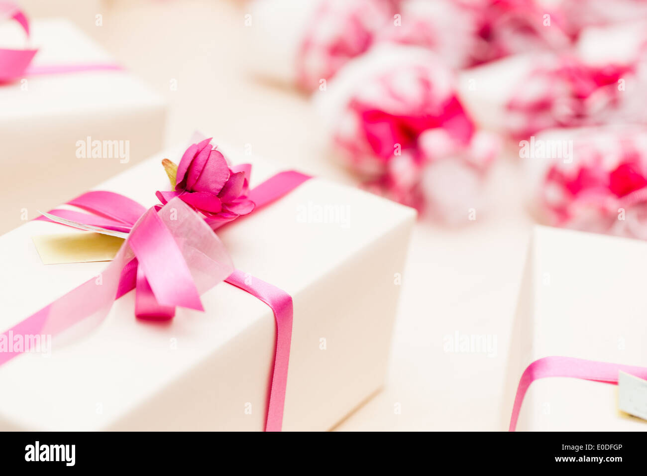 beautiful wedding favors wrapped in cute boxes Stock Photo: 69139078 ...