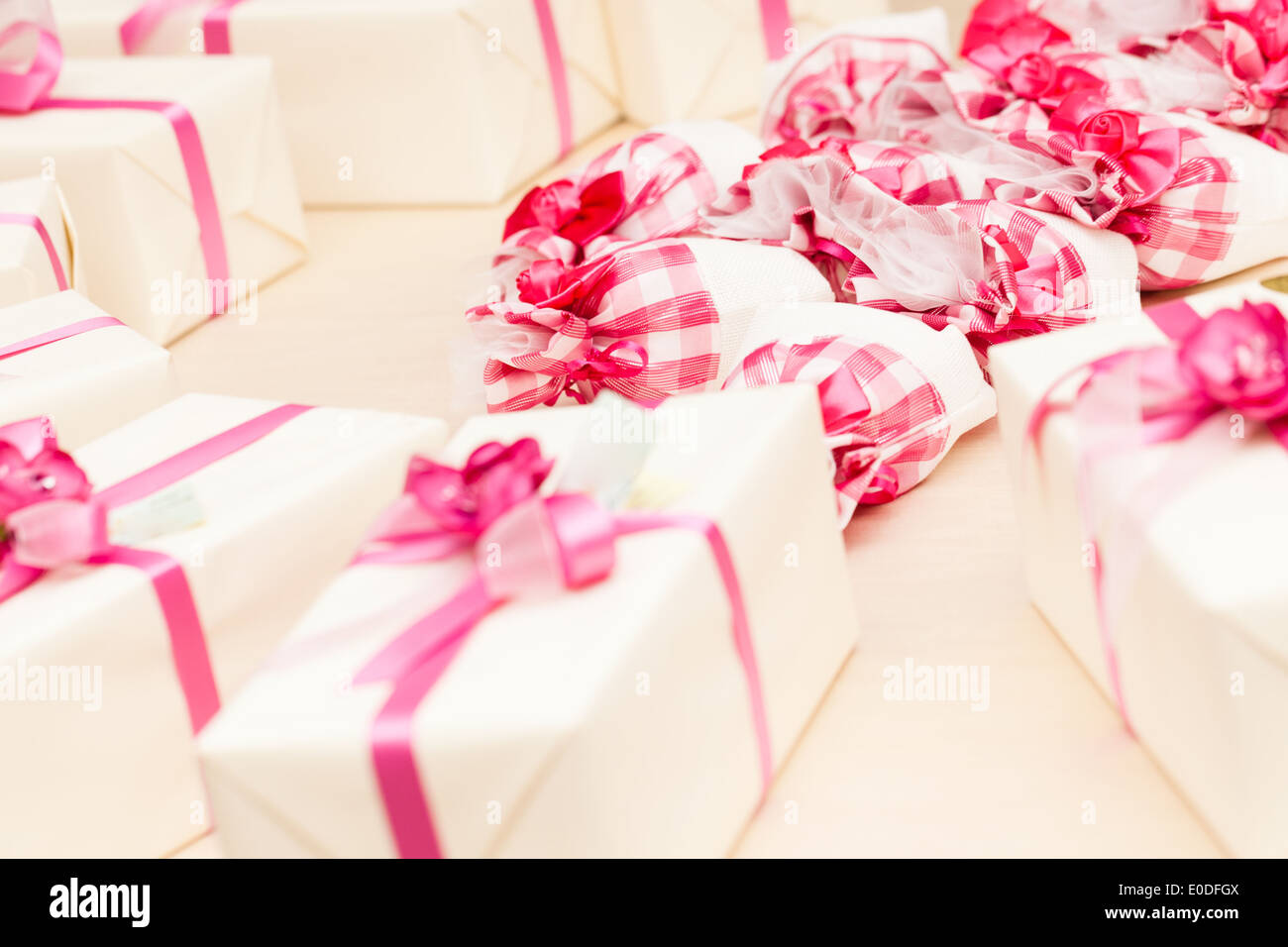 beautiful wedding favors wrapped in cute boxes Stock Photo: 69139082 ...