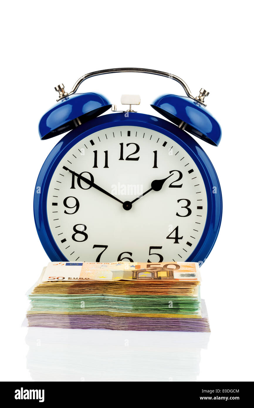 Alarm clock and bank notes, symbolic photo for labour costs, labour cost, time work, Wecker und Geldscheine, Symbolfoto Stock Photo