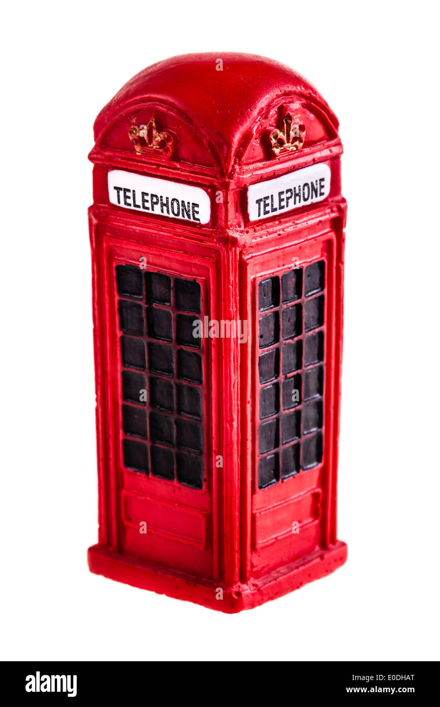 a typical red english phone booth isolated over a white background - Stock Image